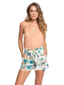Roxy The South Side - Paper Bag Shorts met Hoge Taille voor Dames Wit tinten